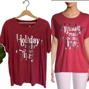 Wildfox Holidays Make Me Tipsy Holiday T Shirt NWT